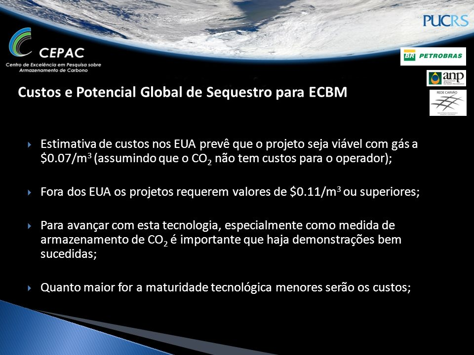 Custos e Potencial Global de Sequestro para ECBM