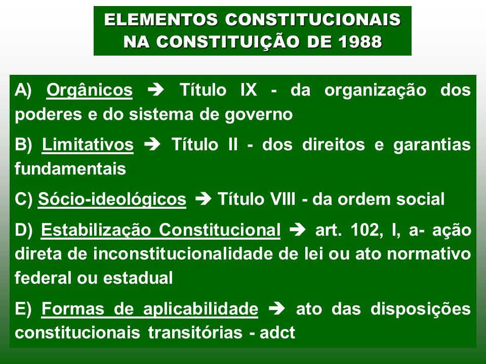 ELEMENTOS CONSTITUCIONAIS