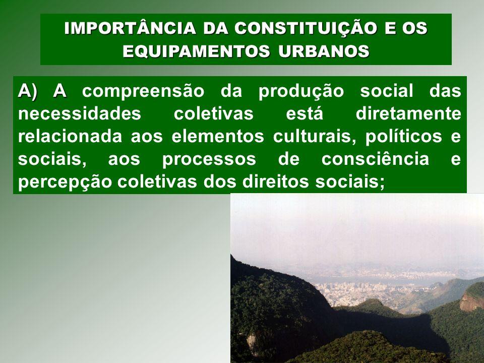 IMPORTÂNCIA DA CONSTITUIÇÃO E OS EQUIPAMENTOS URBANOS