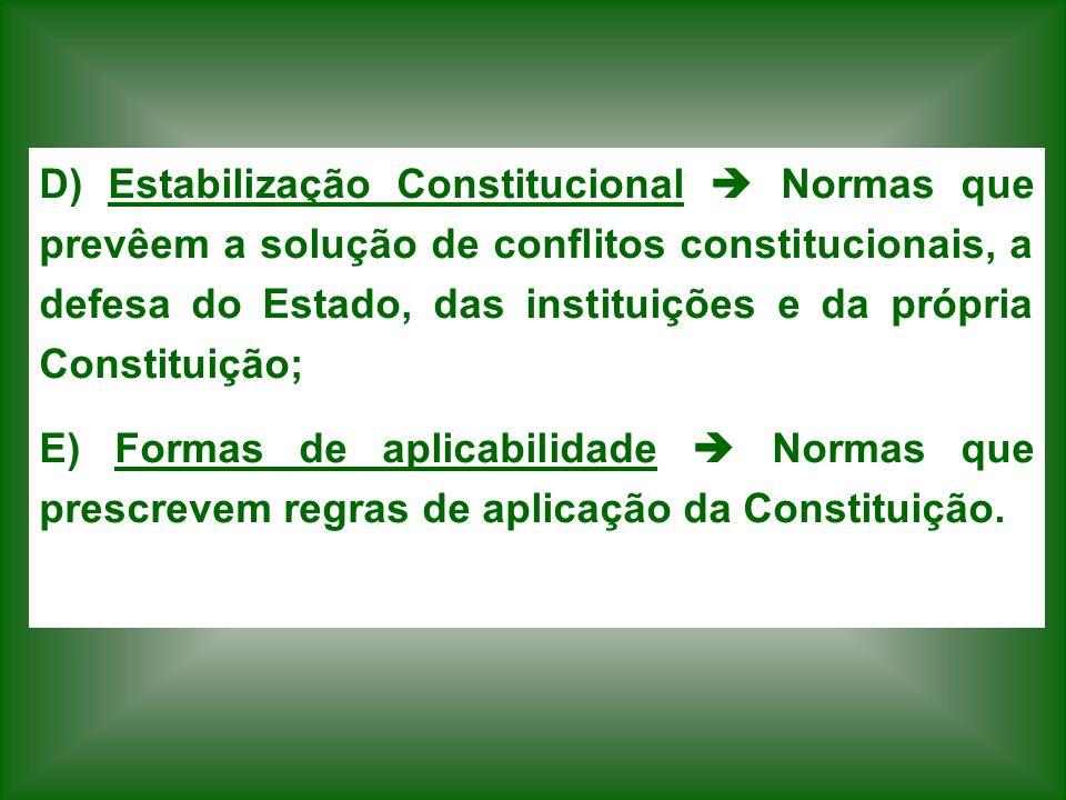 D) Estabilização Constitucional  Normas que prevêem a solução de conflitos constitucionais, a defesa do Estado, das instituições e da própria Constituição;