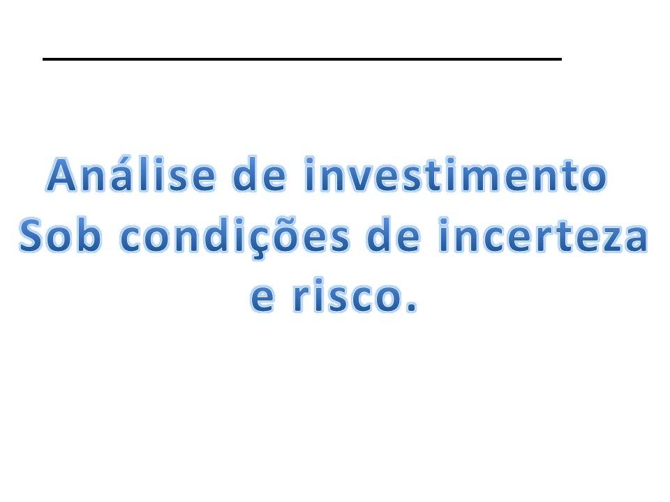 Análise de investimento Sob condições de incerteza
