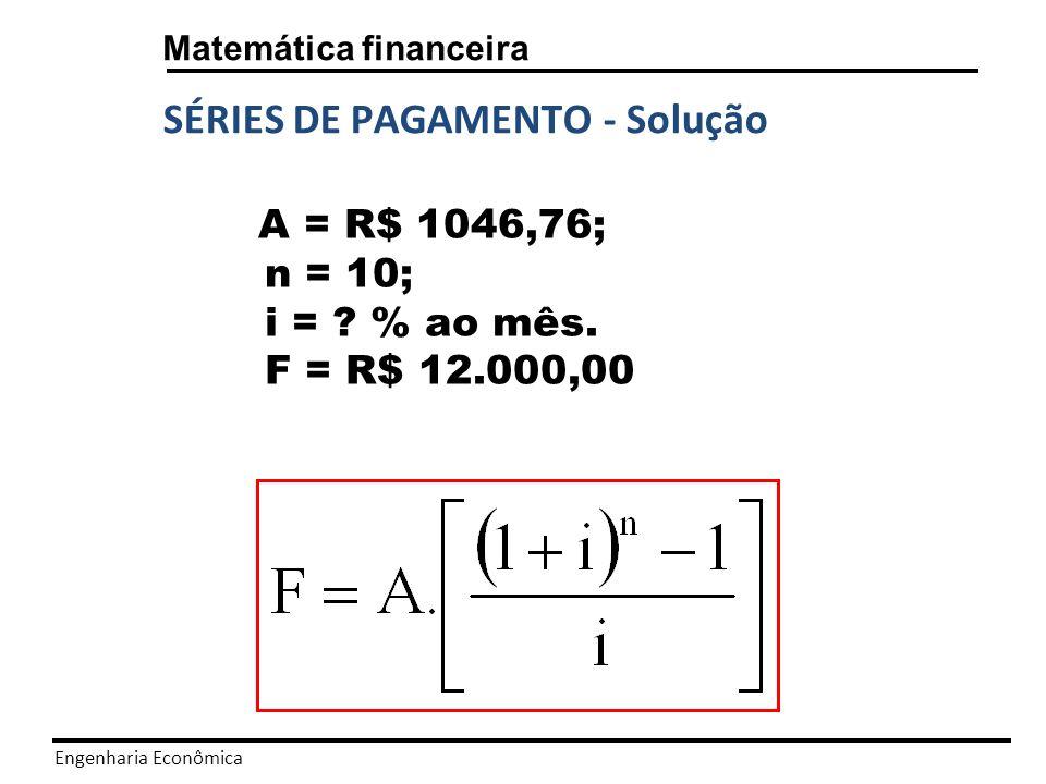 SÉRIES DE PAGAMENTO - Solução