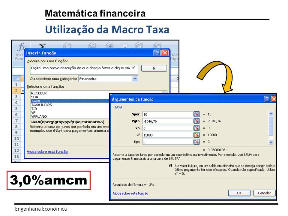 3,0%amcm Utilização da Macro Taxa Matemática financeira