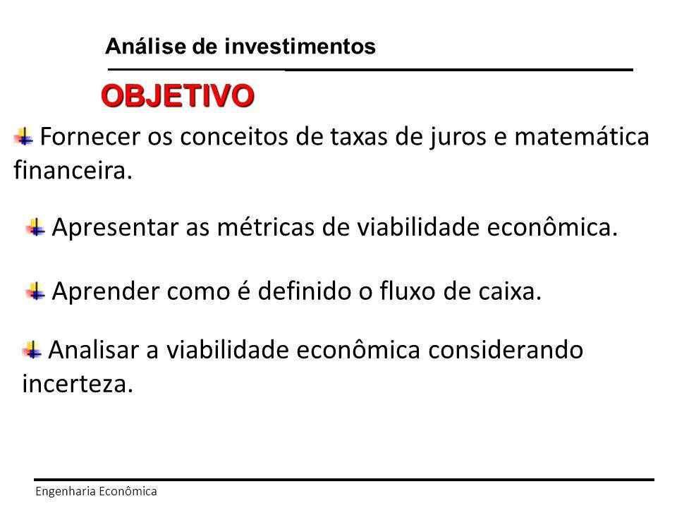 Fornecer os conceitos de taxas de juros e matemática financeira.