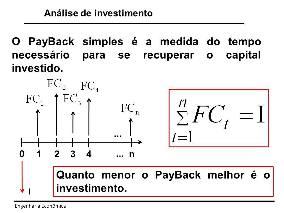 Quanto menor o PayBack melhor é o investimento.
