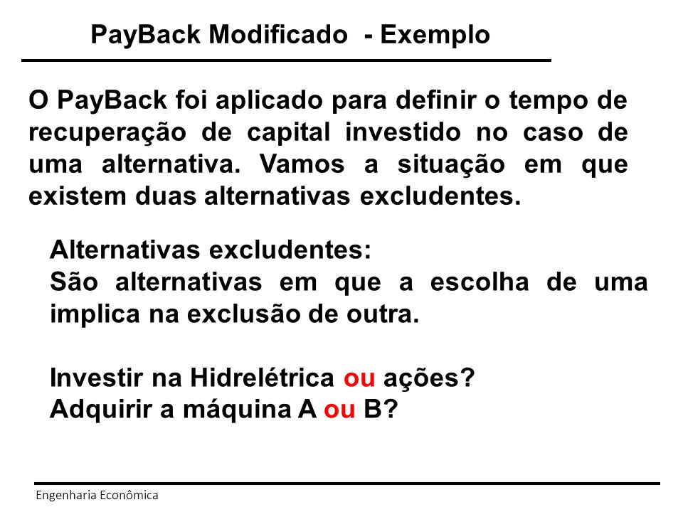 PayBack Modificado - Exemplo