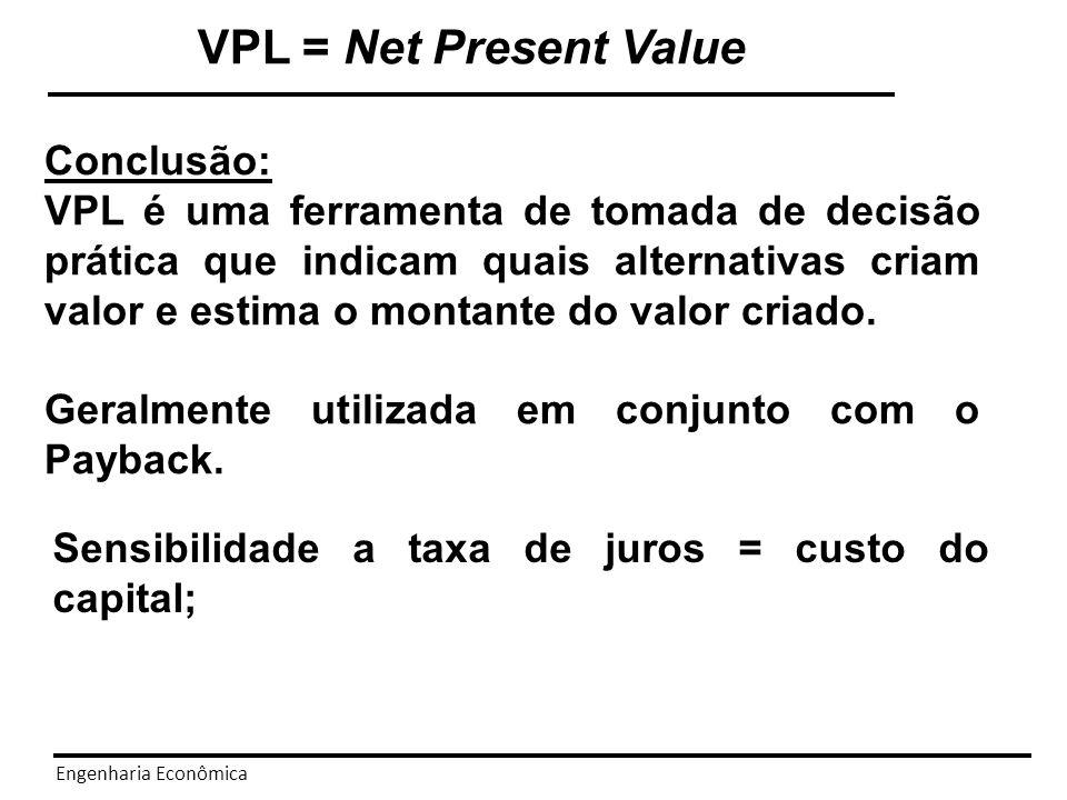 VPL = Net Present Value Conclusão: