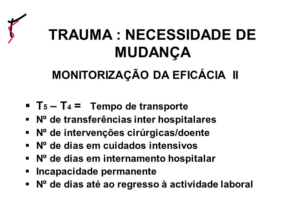 TRAUMA : NECESSIDADE DE MUDANÇA MONITORIZAÇÃO DA EFICÁCIA II