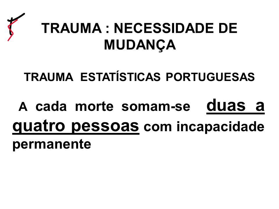 TRAUMA : NECESSIDADE DE MUDANÇA TRAUMA ESTATÍSTICAS PORTUGUESAS