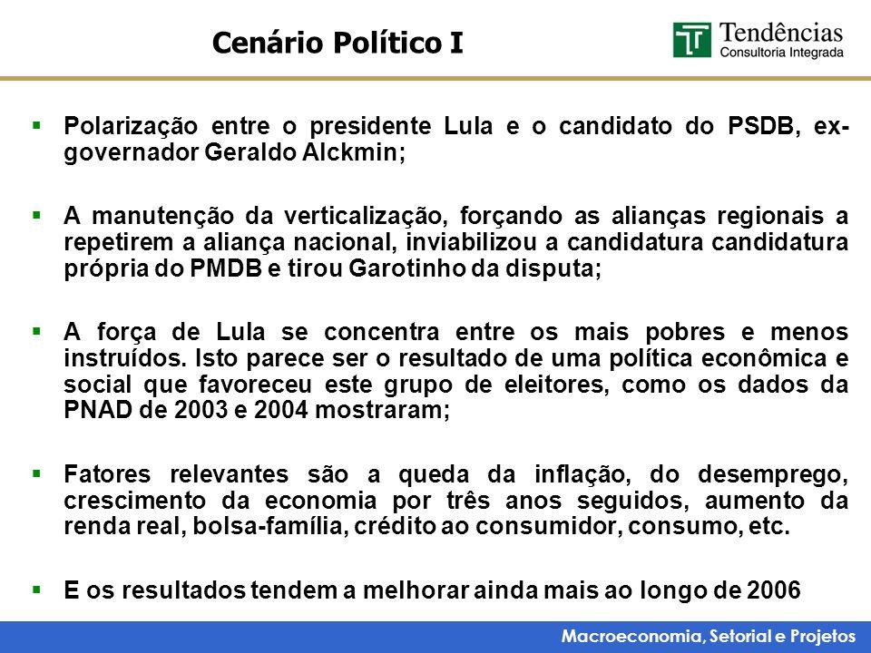 Cenário Político I Polarização entre o presidente Lula e o candidato do PSDB, ex- governador Geraldo Alckmin;