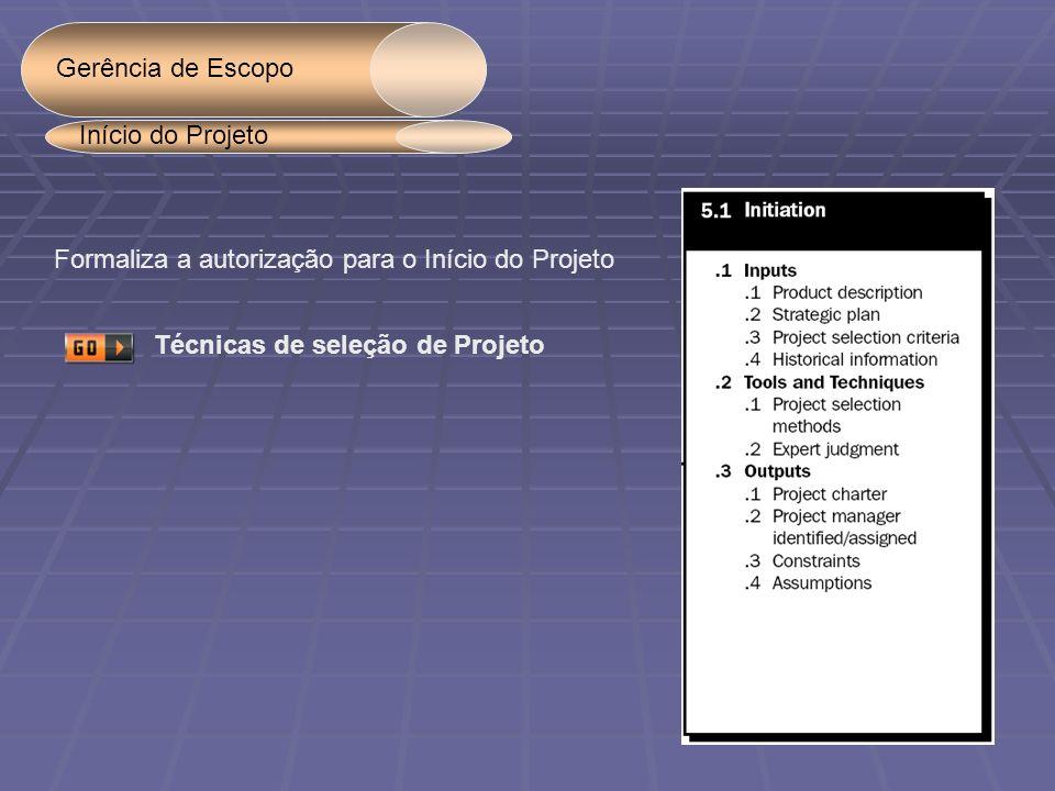 Gerência de Escopo Início do Projeto. Formaliza a autorização para o Início do Projeto.