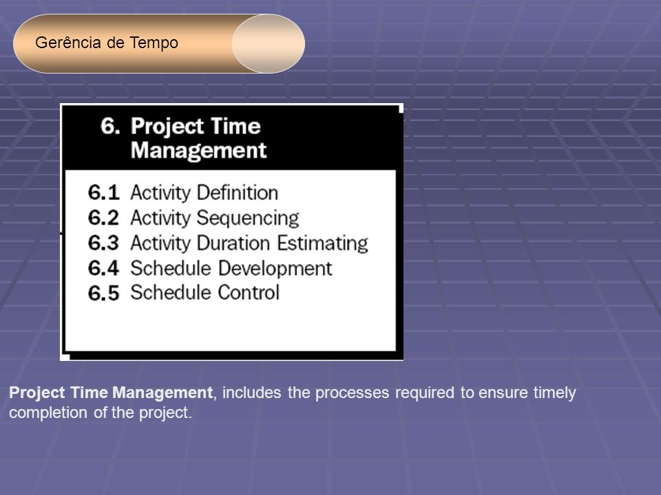 Gerência de Tempo Project Time Management, includes the processes required to ensure timely.