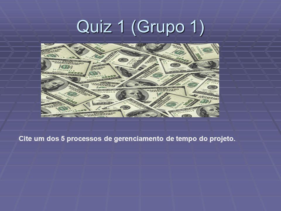 Quiz 1 (Grupo 1) Cite um dos 5 processos de gerenciamento de tempo do projeto.