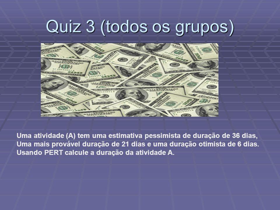 Quiz 3 (todos os grupos) Uma atividade (A) tem uma estimativa pessimista de duração de 36 dias,