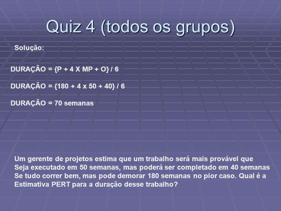 Quiz 4 (todos os grupos) Solução: DURAÇÃO = {P + 4 X MP + O} / 6