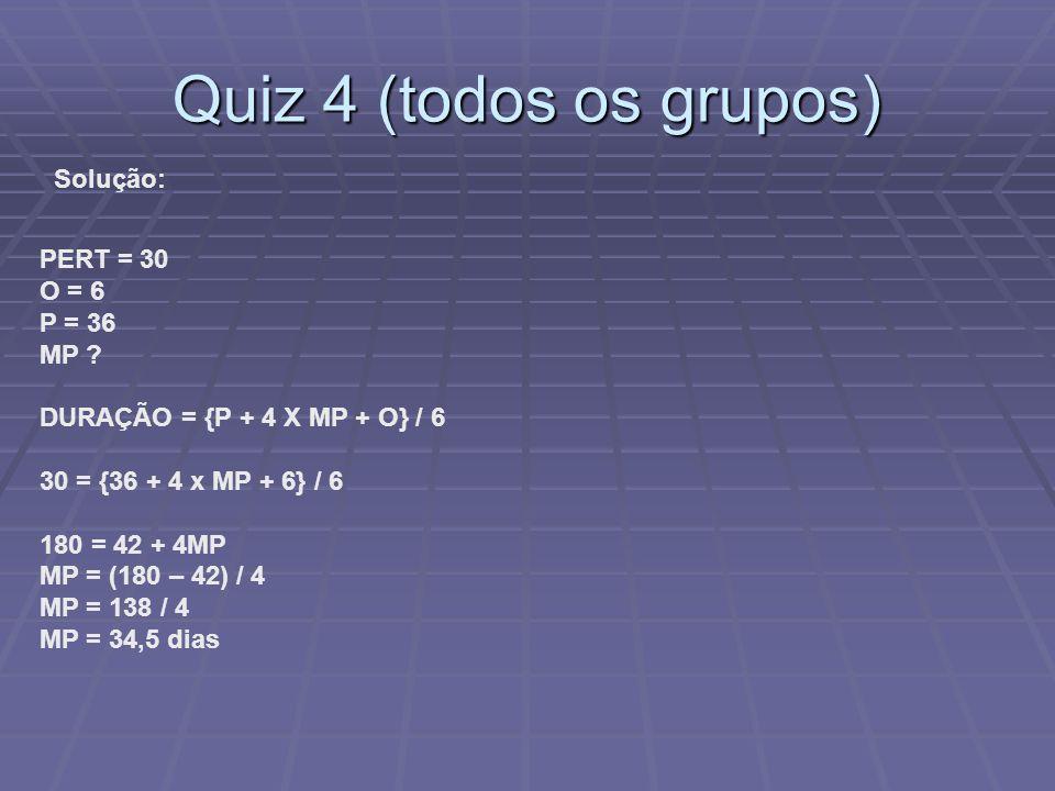 Quiz 4 (todos os grupos) Solução: PERT = 30 O = 6 P = 36 MP