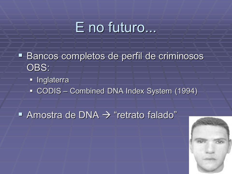 E no futuro... Bancos completos de perfil de criminosos OBS: