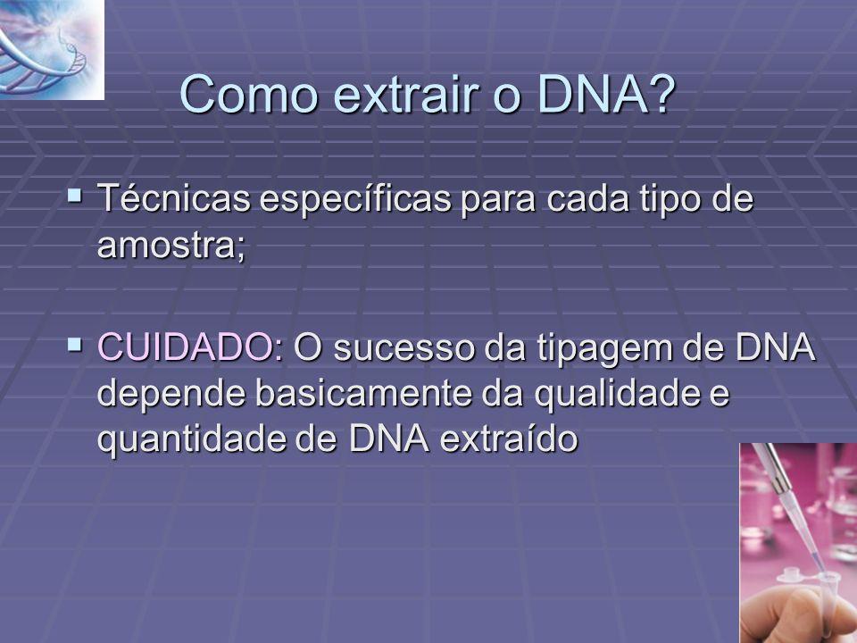 Como extrair o DNA Técnicas específicas para cada tipo de amostra;