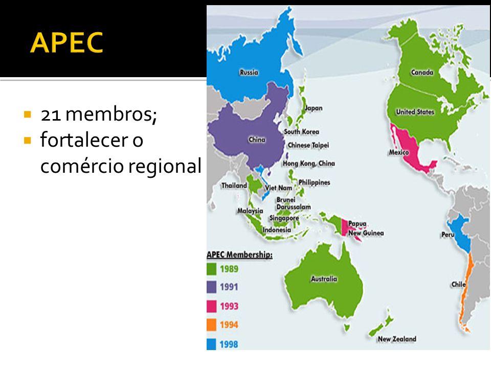 APEC 21 membros; fortalecer o comércio regional