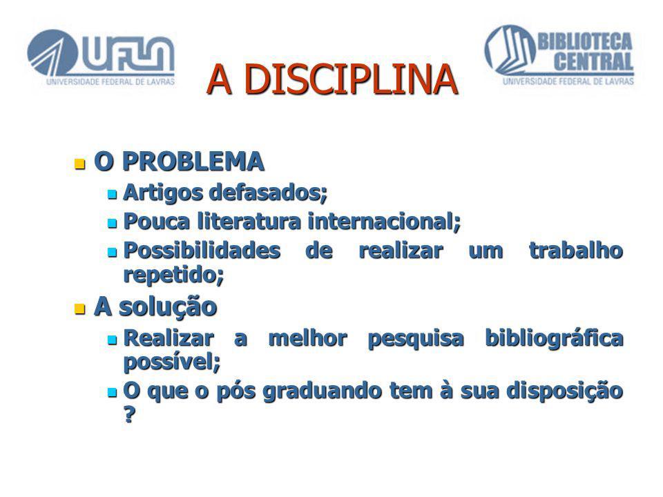 A DISCIPLINA O PROBLEMA A solução Artigos defasados;