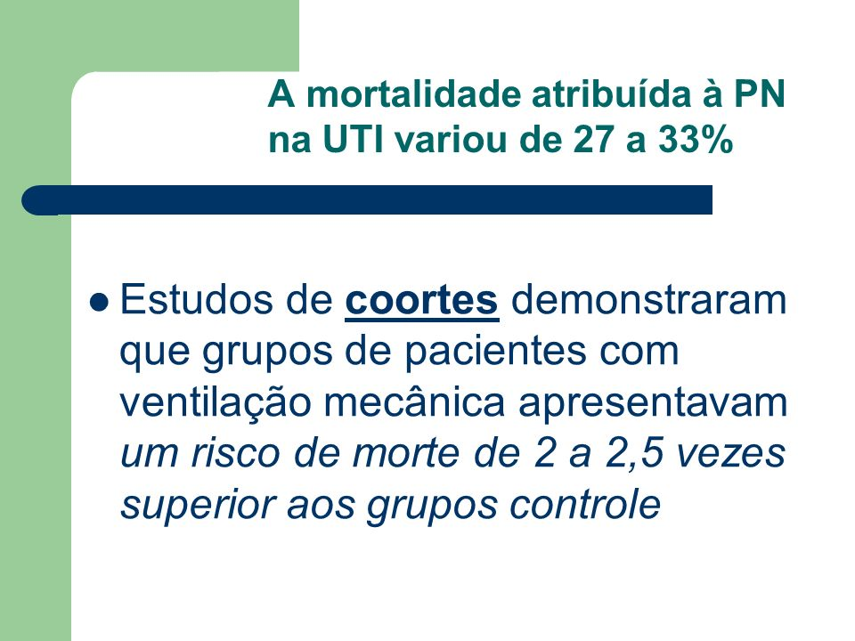 A mortalidade atribuída à PN na UTI variou de 27 a 33%