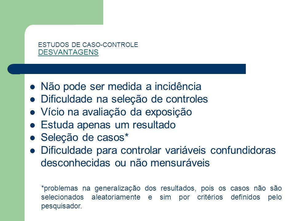 ESTUDOS DE CASO-CONTROLE DESVANTAGENS