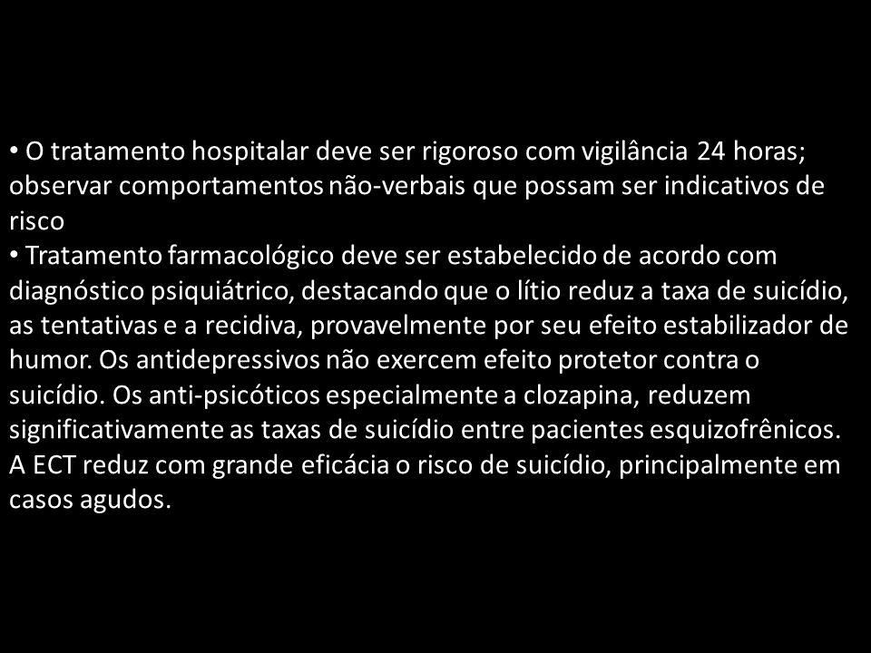 O tratamento hospitalar deve ser rigoroso com vigilância 24 horas; observar comportamentos não-verbais que possam ser indicativos de risco