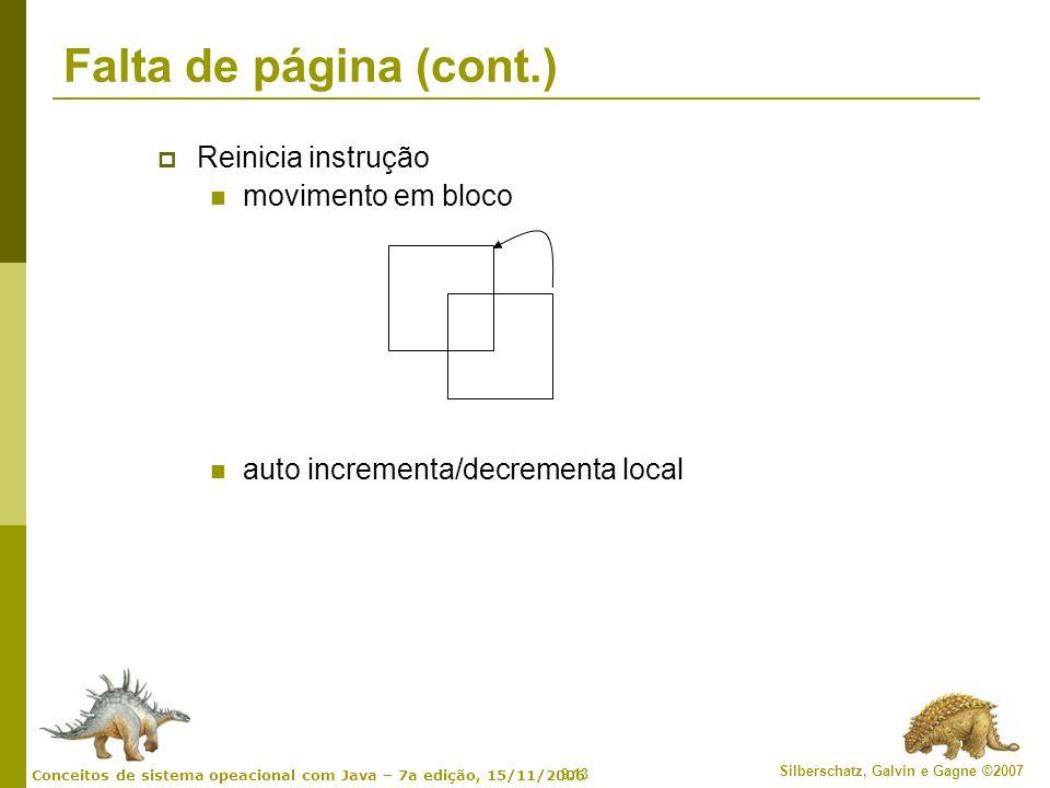 Falta de página (cont.) Reinicia instrução movimento em bloco