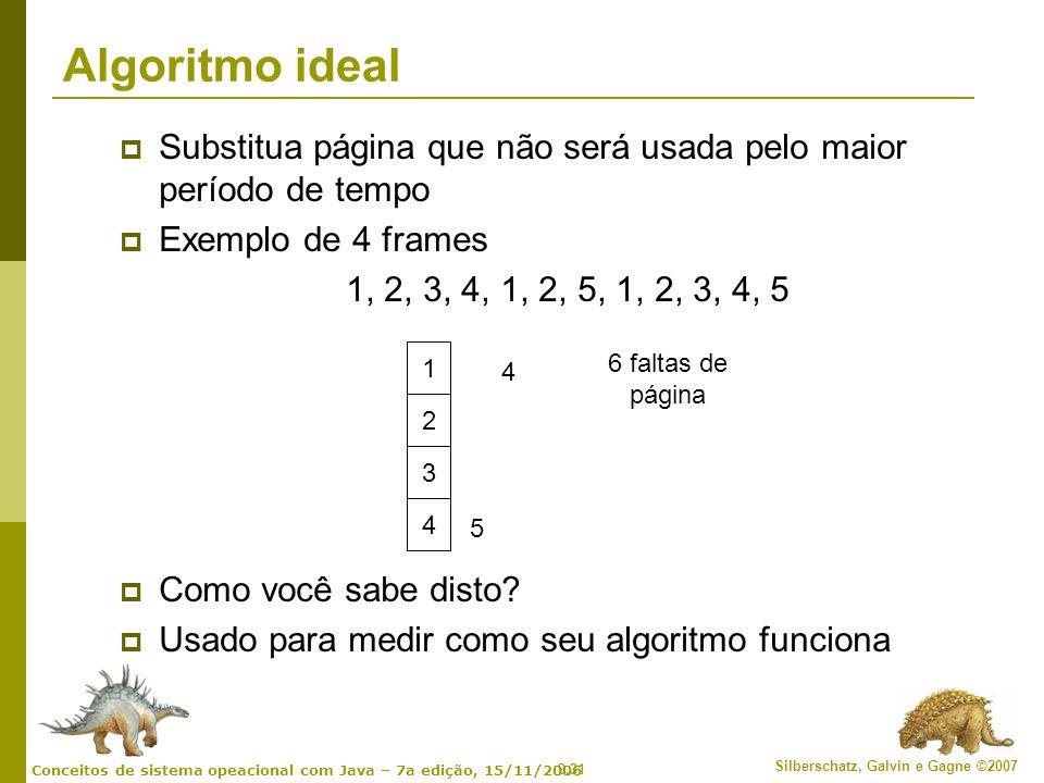 Algoritmo ideal Substitua página que não será usada pelo maior período de tempo. Exemplo de 4 frames.