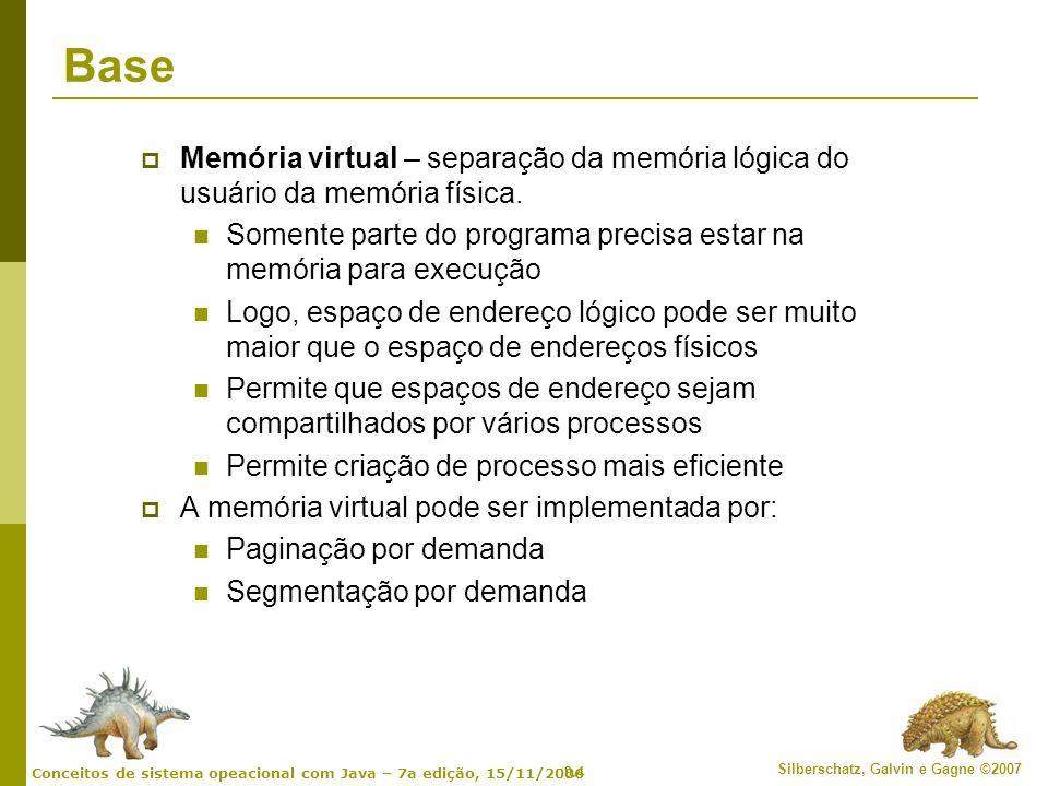Base Memória virtual – separação da memória lógica do usuário da memória física. Somente parte do programa precisa estar na memória para execução.