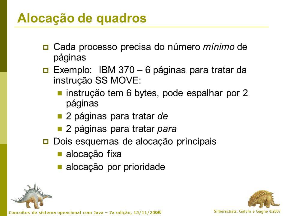 Alocação de quadros Cada processo precisa do número mínimo de páginas