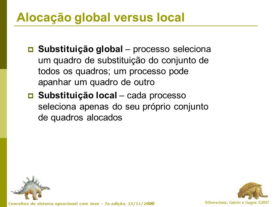 Alocação global versus local