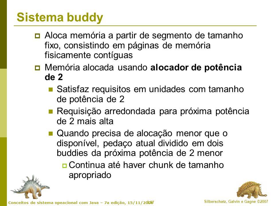 Sistema buddy Aloca memória a partir de segmento de tamanho fixo, consistindo em páginas de memória fisicamente contíguas.