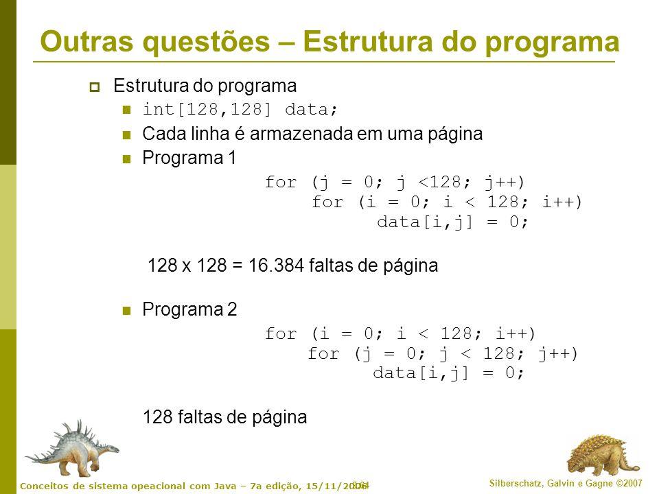 Outras questões – Estrutura do programa