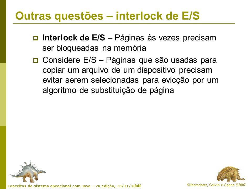 Outras questões – interlock de E/S