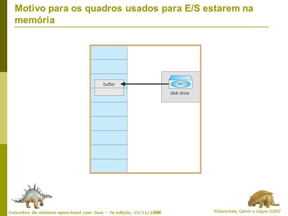 Motivo para os quadros usados para E/S estarem na memória