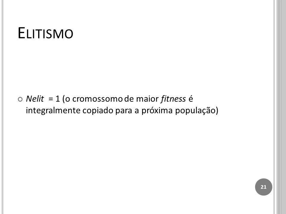 Elitismo Nelit = 1 (o cromossomo de maior fitness é integralmente copiado para a próxima população)