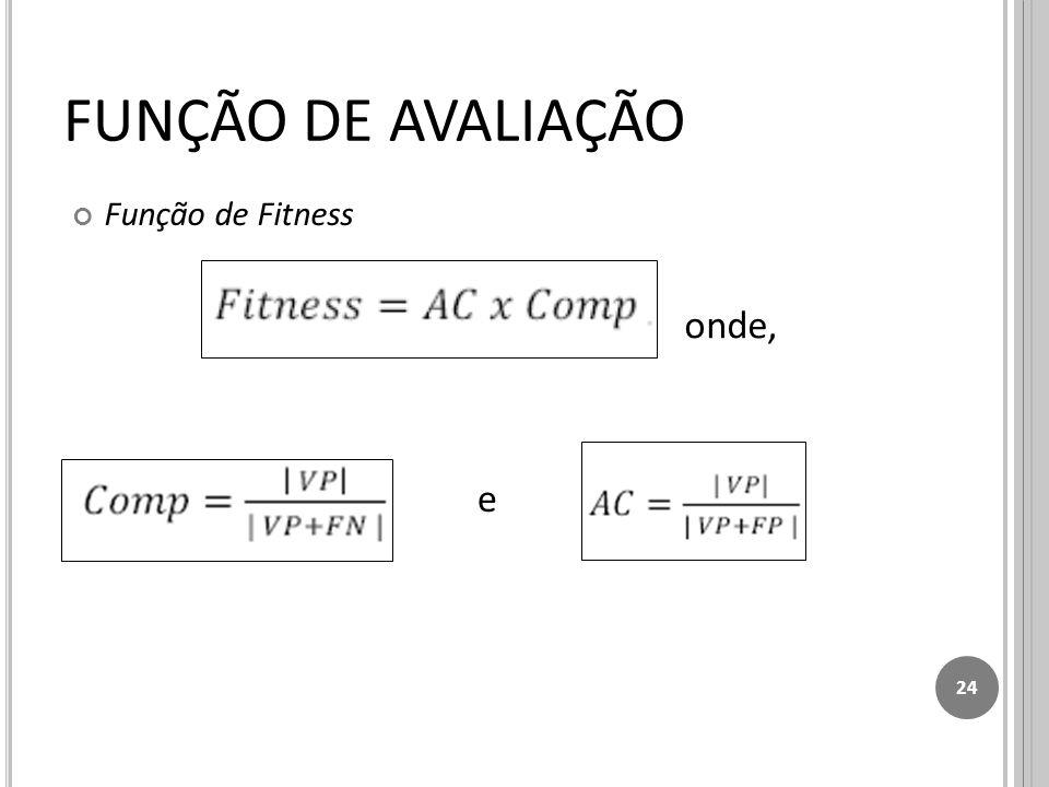FUNÇÃO DE AVALIAÇÃO Função de Fitness onde, e 24