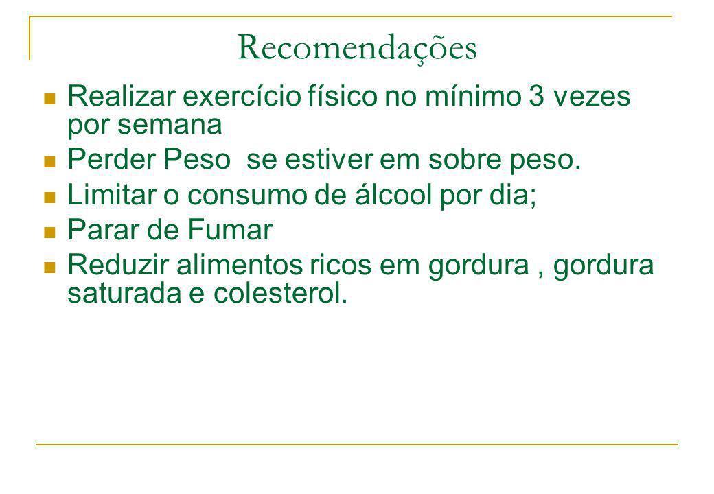 Recomendações Realizar exercício físico no mínimo 3 vezes por semana