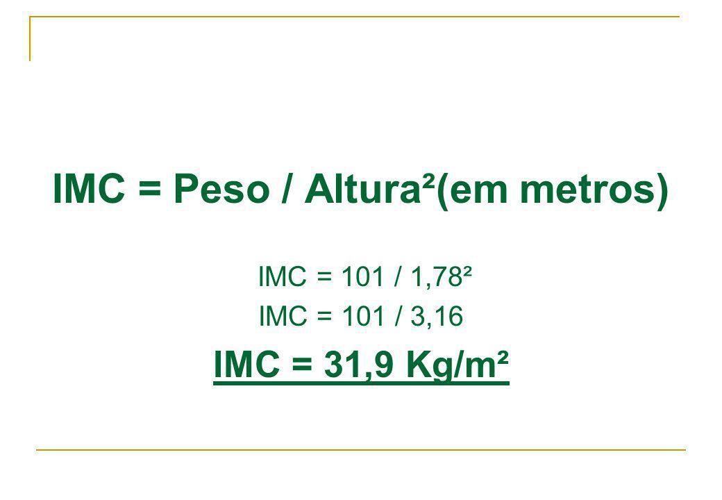 IMC = Peso / Altura²(em metros)