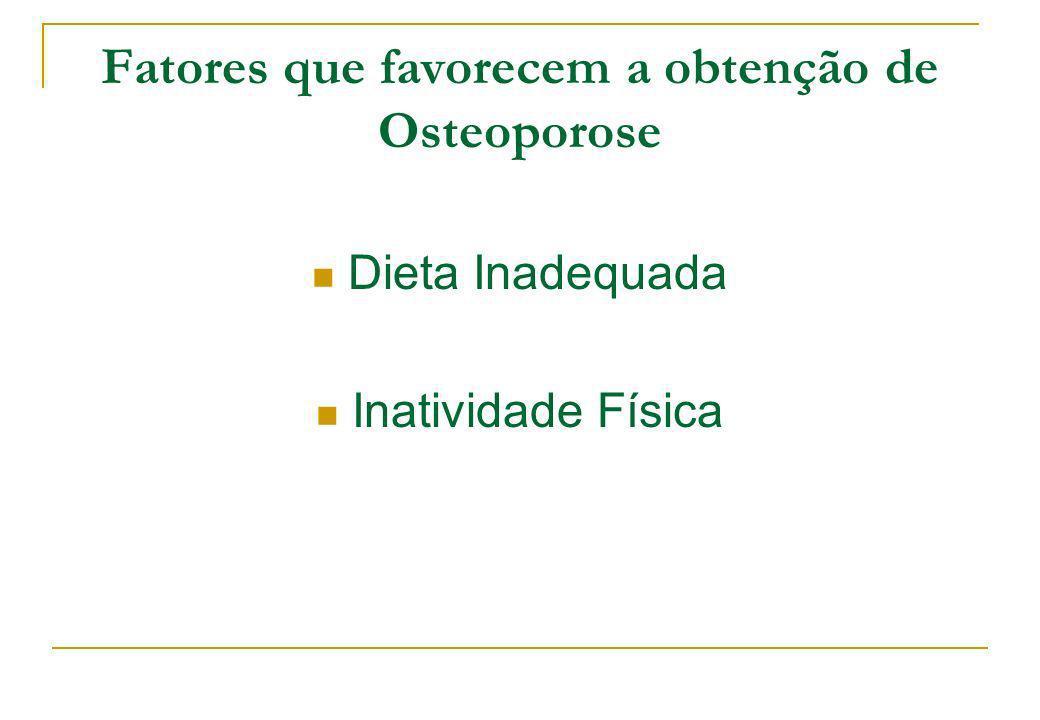 Fatores que favorecem a obtenção de Osteoporose