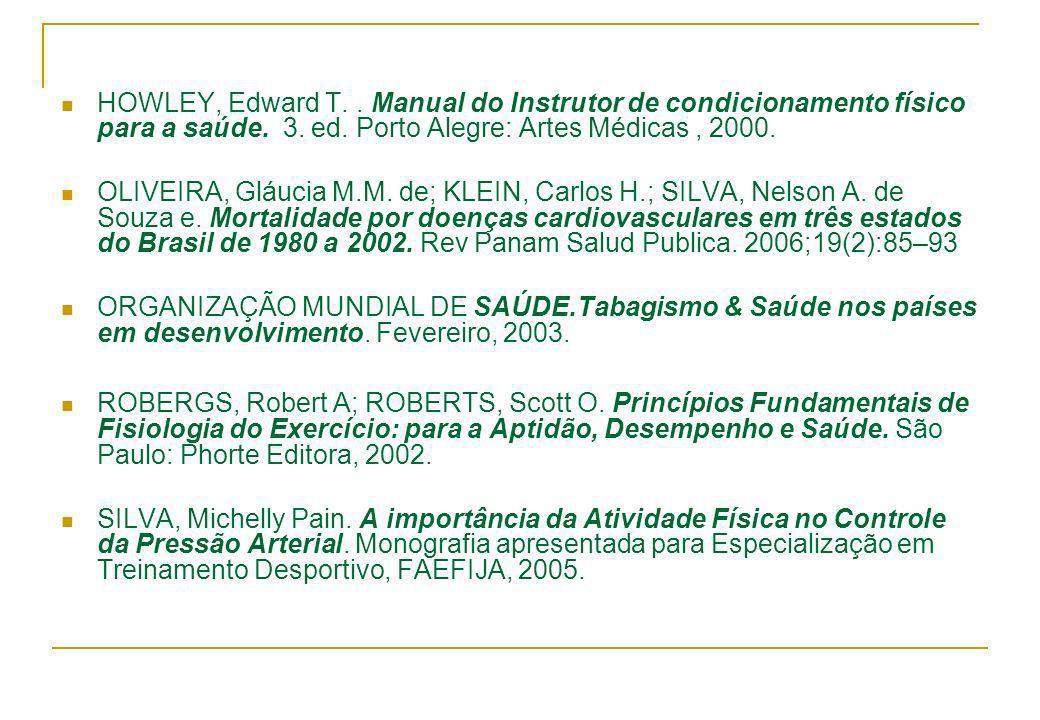 HOWLEY, Edward T. . Manual do Instrutor de condicionamento físico para a saúde. 3. ed. Porto Alegre: Artes Médicas , 2000.