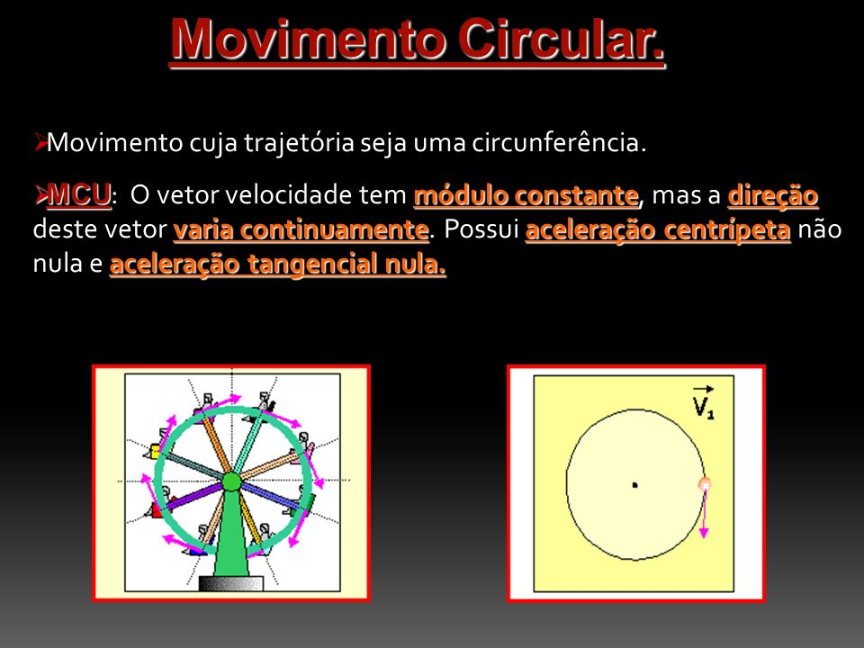 Movimento Circular. Movimento cuja trajetória seja uma circunferência.