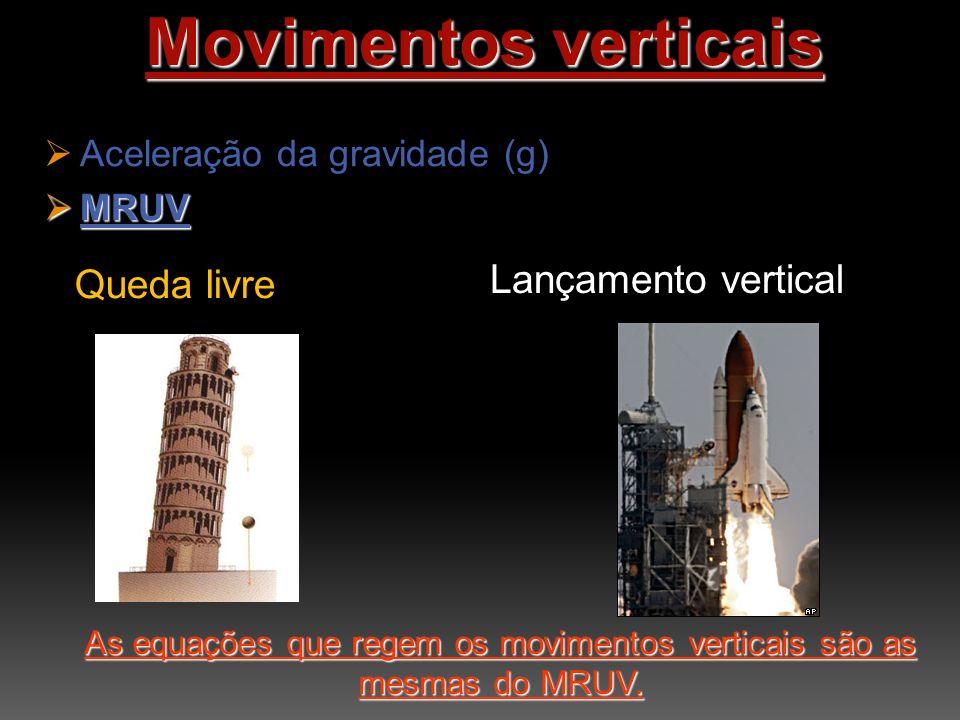As equações que regem os movimentos verticais são as mesmas do MRUV.
