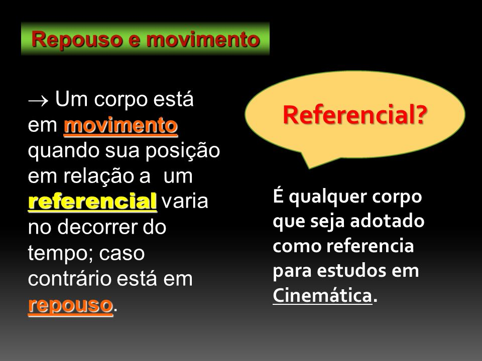 Referencial Repouso e movimento