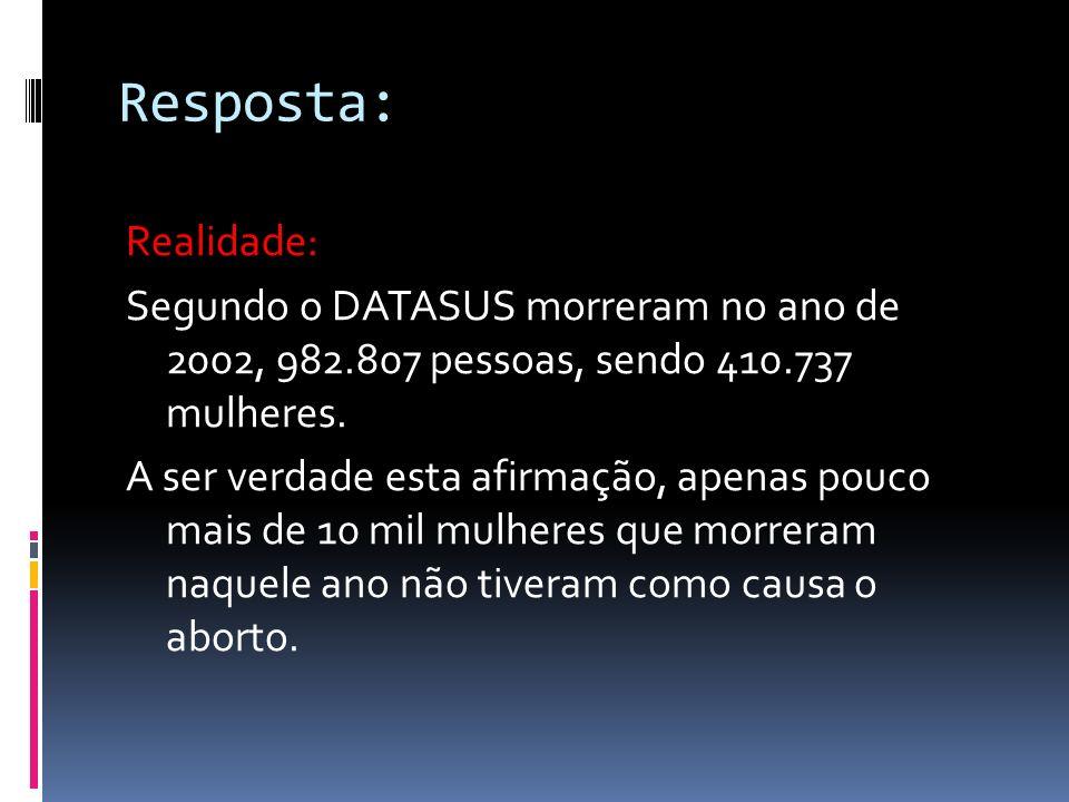 Resposta: Realidade: Segundo o DATASUS morreram no ano de 2002, 982.807 pessoas, sendo 410.737 mulheres.