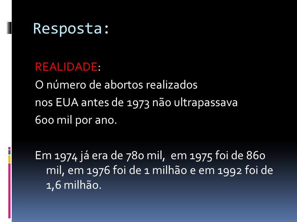 Resposta: REALIDADE: O número de abortos realizados
