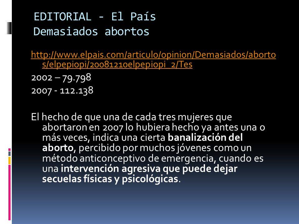 EDITORIAL - El País Demasiados abortos
