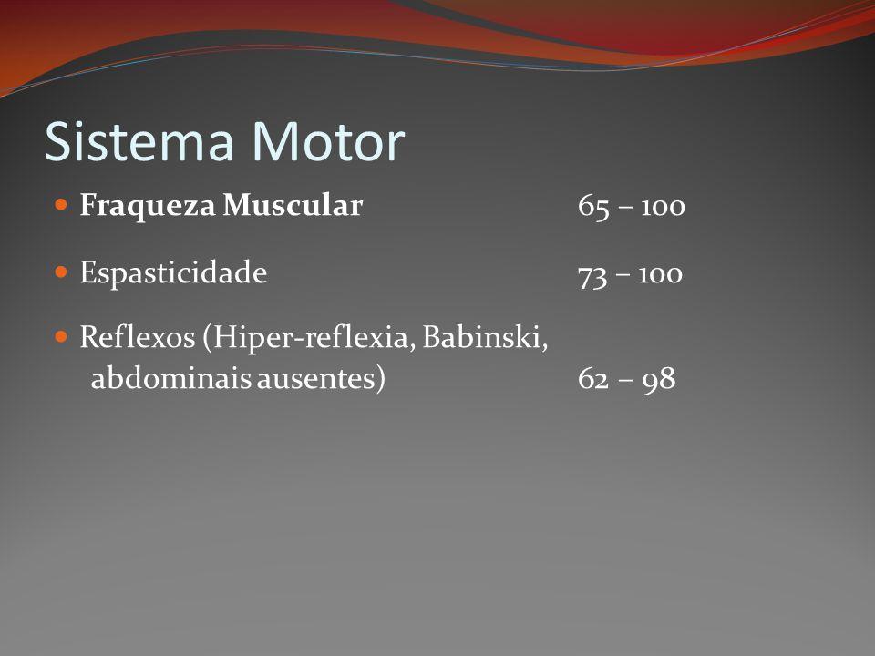 Sistema Motor Fraqueza Muscular 65 – 100 Espasticidade 73 – 100