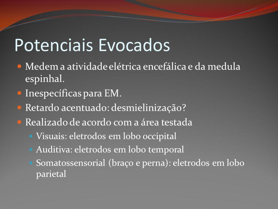 Potenciais Evocados Medem a atividade elétrica encefálica e da medula espinhal. Inespecíficas para EM.